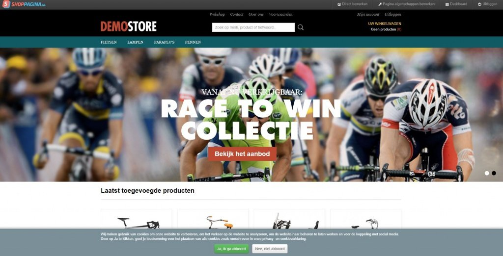 voorbeeld shoppagina webshop