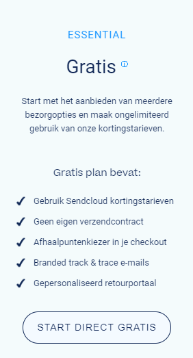 Sendcloud Gratis Fulfilment Optie