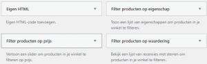 filteren eigenschappen prijs woocommerce
